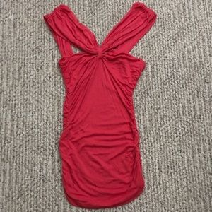 Misope Coral Ruched Tank Top Shirt S